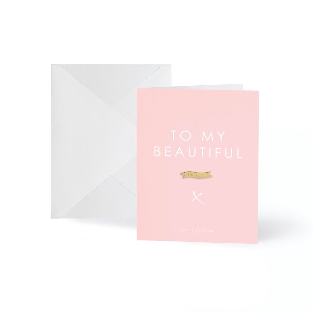 To My Beautiful Bridesmaid Gold Badge Greeting Card