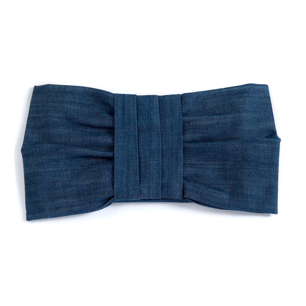 Denim Damaris Bow Pouch