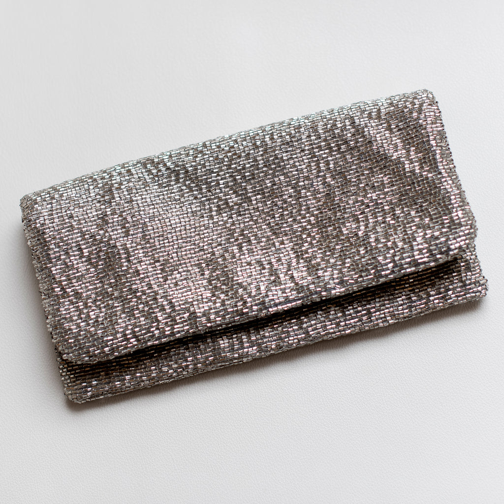 Silver Fold-Over Beaded Clutch