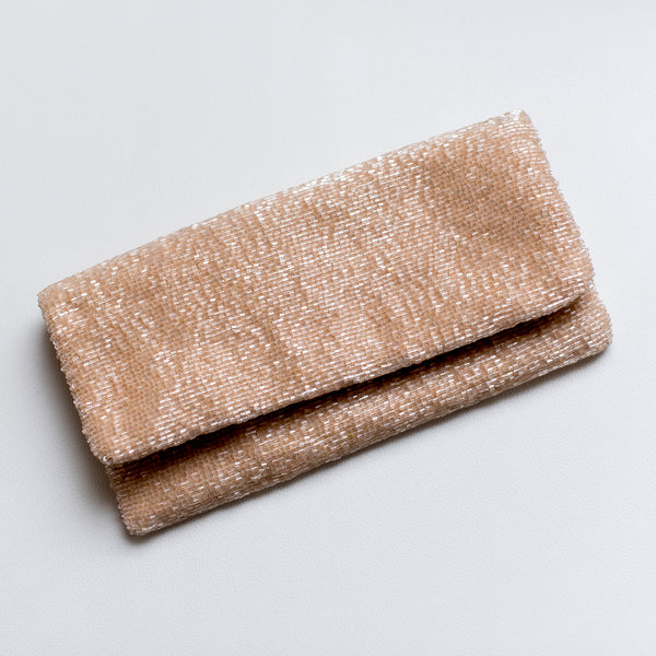 Blush Fold-Over Beaded Clutch