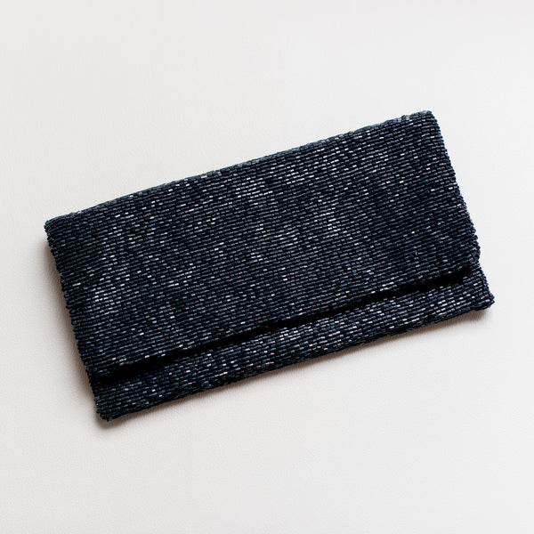 Navy Fold-Over Beaded Clutch
