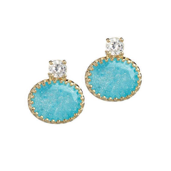 Blue Vintage Prong Set Earrings