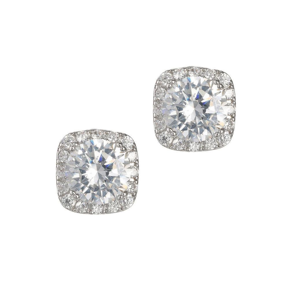 1.5 CT Halo Stud Earrings - White Gold