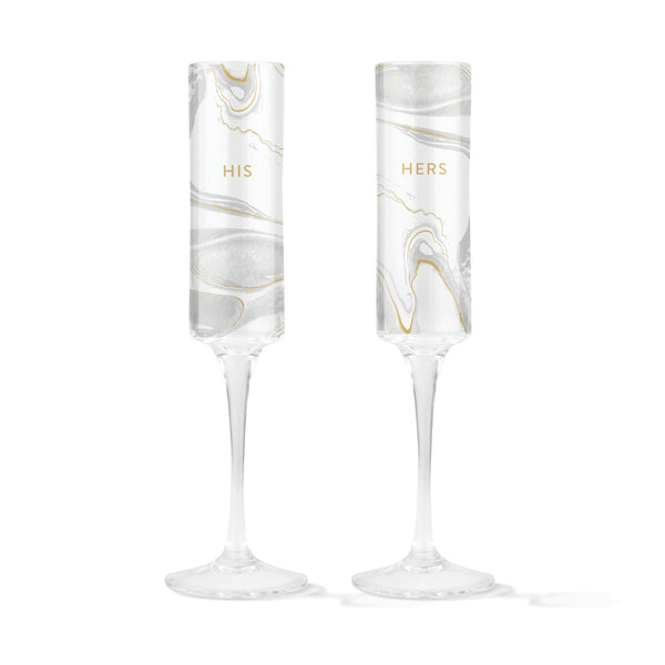 His Hers Marble Champagne Flutes