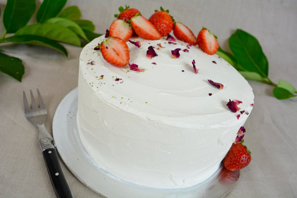 Vanilla Strawberry Rose Cream Sponge Cake