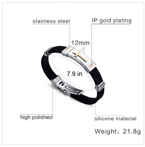 Black Stainless Steel Silicone Bracelet