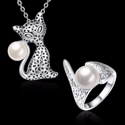 cat lover platinum gold plated with pearl necklace and ring set