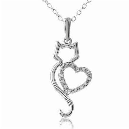 Cat Lover Silver Rhinestone Heart Necklace