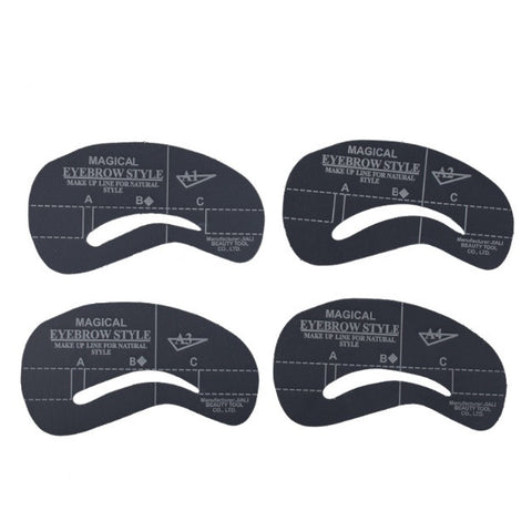 Eyebrow Grooming Shaping Stencil Kit (4 Styles / Set)
