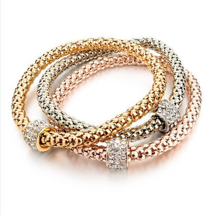 Fashion Gold / Silver Plated Bangle Bracelets with Genuine Austrian Crystal Charms (Set of 3)