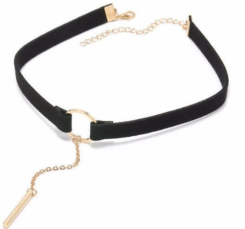 Fashion Leather Choker Necklace with Gold / Silver Plated Geometrical Pendant