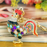 Gold Plated Opal Rhinestones Rooster Keychain with Key Ring and Clasp Holder