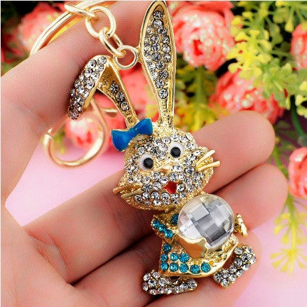 Gold Plated Rhinestone Crystals Bunny Rabbit Keychain with Key Ring and Clasp Holder