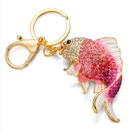 Gold Plated Rhinestone Crystals Fish Keychain with Key Ring and Clasp Holder