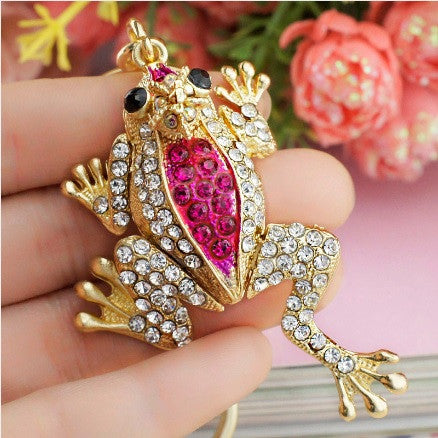 Gold Plated Rhinestone Crystals Frog with Princess Crown Keychain with Key Ring and Clasp Holder