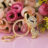 Gold Plated Rhinestone Crystals Kitty Cat Keychain with Key Ring and Clasp Holder