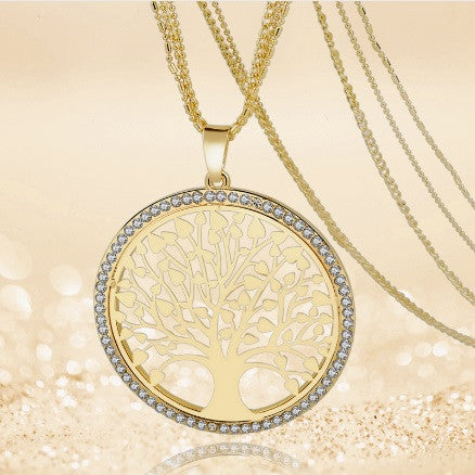Long gold silver plated multi layer chain necklace with long gold silver plated multi layer chain necklace with rhinestone pendants mozeypictures Images