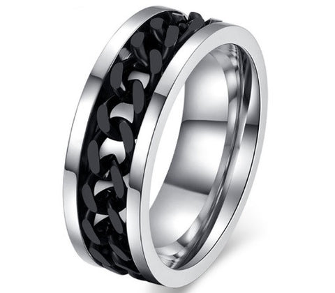 Men's Fashion Stainless Steel Spinner Ring