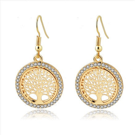 Rhinestone Gold / Silver Plated Tree of Life Dangle Earrings (Plus Other Designs)