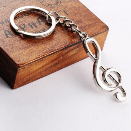 Silver Plated Treble Clef Music Note Keychain