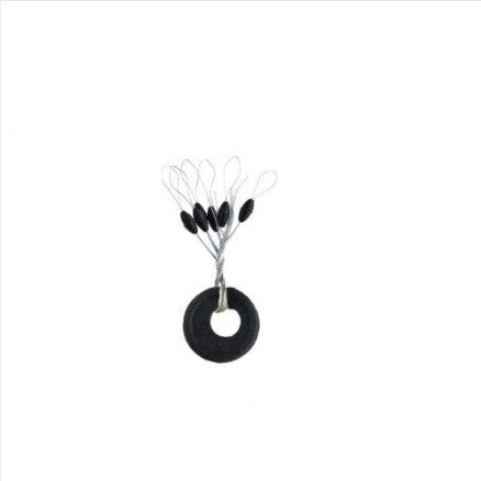 Small Black Rubber Space Bean Fishing Floats (100 pcs)