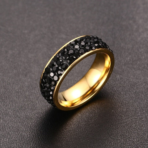 Women's 18k Gold-Plated Stainless Steel Crystal Ring