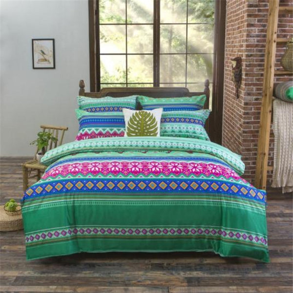 Natural Green Bedding Set with Duvet Cover, Pillowcase and Flat Sheet - Guleria Store
