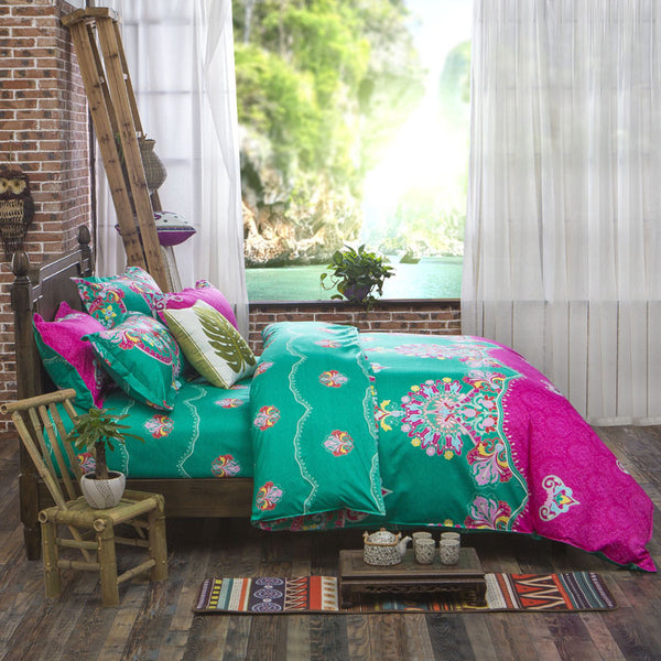 Pink Green Bedding Set with Duvet Cover, Flat Sheet and 2 Pillowcases - Guleria Store