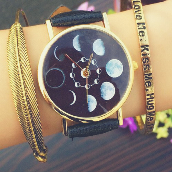 Black Faux Leather Moon Phase Watch - Guleria Store