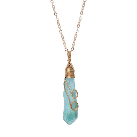 Wire Wrapped Crystal Necklace - Guleria Store