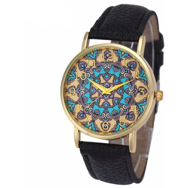 Black Faux Leather Floral Watch - Guleria Store