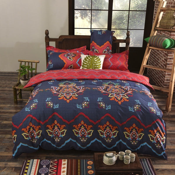 Dark Orange Bedding Set with Duvet Cover, Flat Sheet and 2 Pillowcases - Guleria Store
