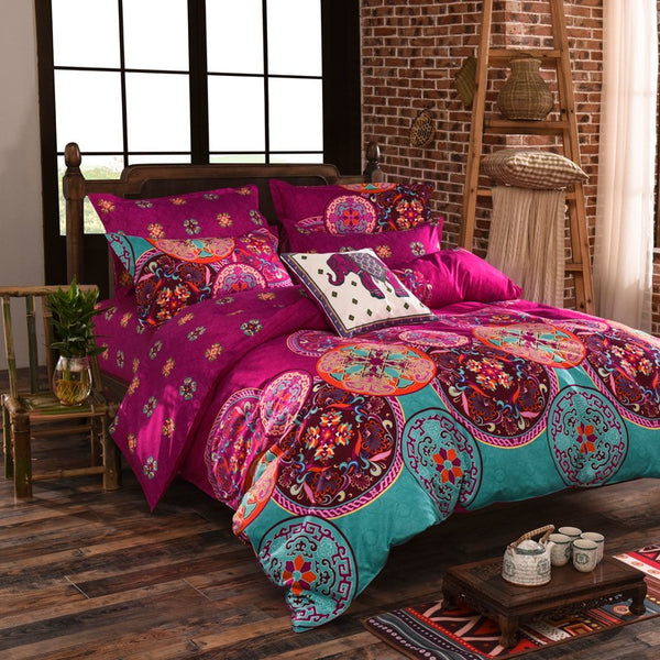 Red Bedding Set with Duvet Cover, Flat Sheet and 2 Pillowcases - Guleria Store