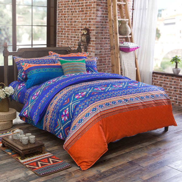 Orange Mandala Bedding Set with Duvet Cover, Flatsheet and 2 Pillowcases - Guleria Store