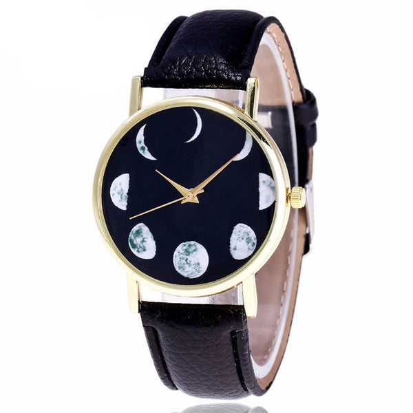 Moon Phases Faux Leather Watch - Guleria Store