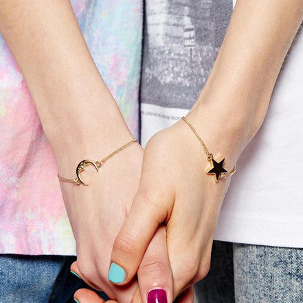 2 Piece Moon-Star Bracelet