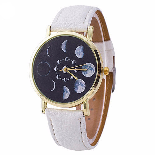 White Faux Leather Moon Phase Watch - Guleria Store