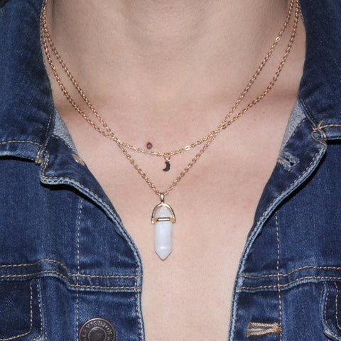 Moon + Quartz Necklace