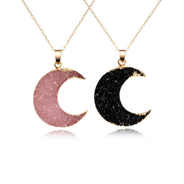 Druzy Moon Pendant Necklace