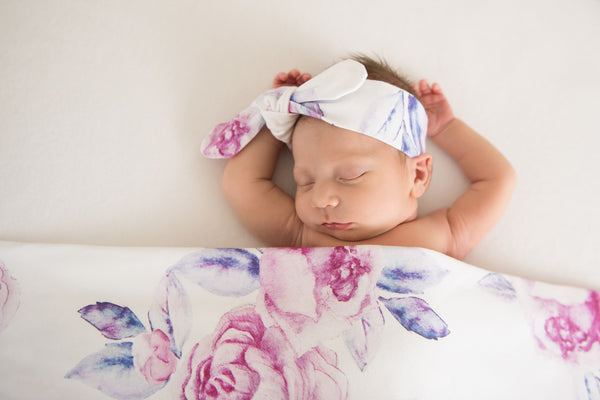 Lilac Skies Baby Jersey Wrap & Topknot Set
