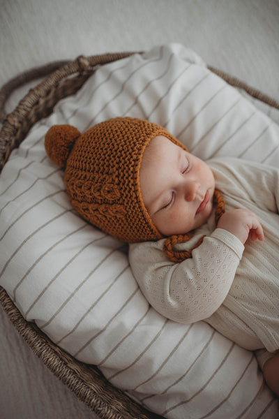 Bronze Merino Wool Bonnet and Booties
