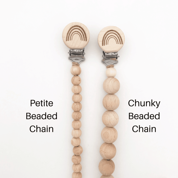 PREORDER 3.11.20 - Petite Wooden Bead Dummy Chain - Rainbow/Heart/Plain clips available
