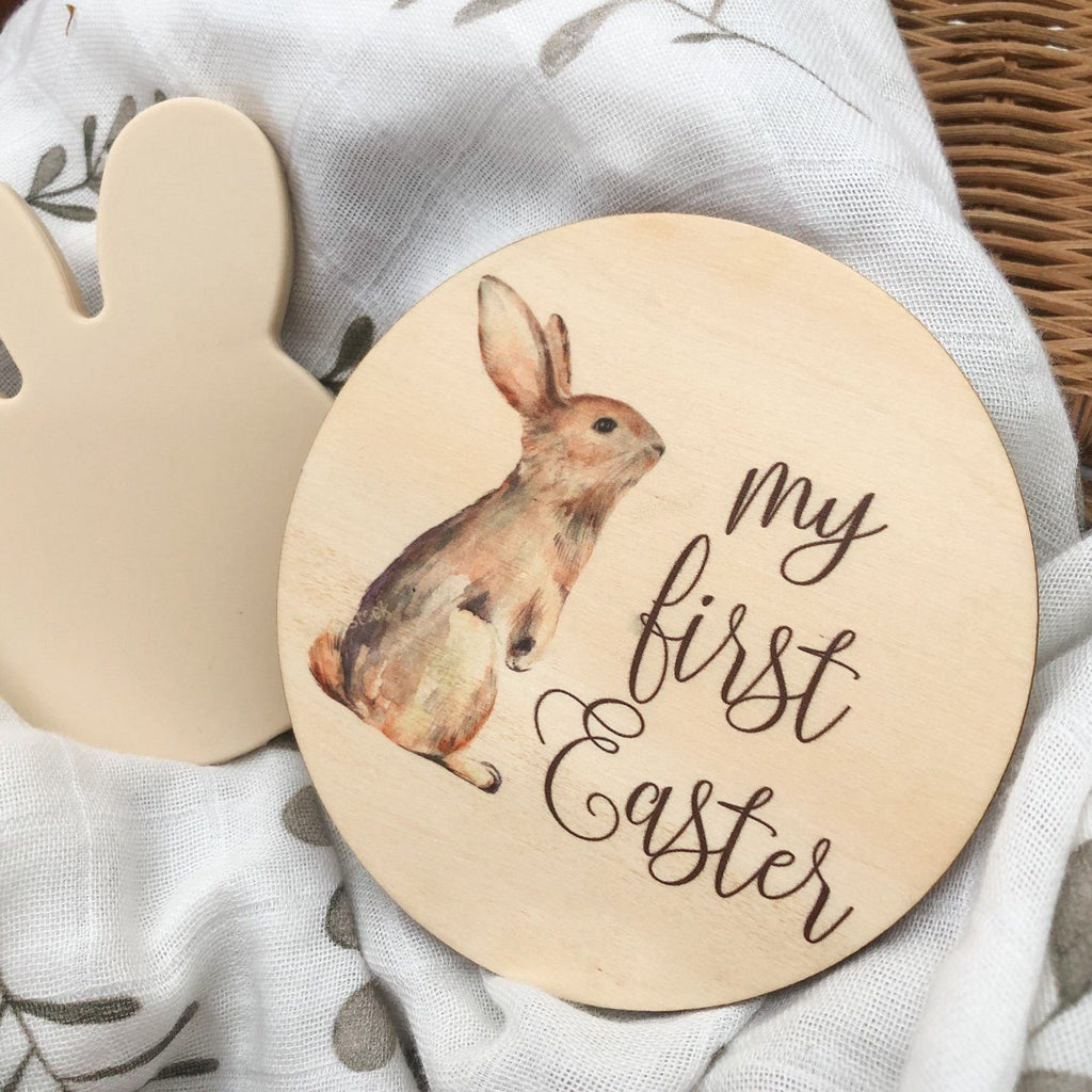 My First Easter Milestone Plaque - Timber Colour Print