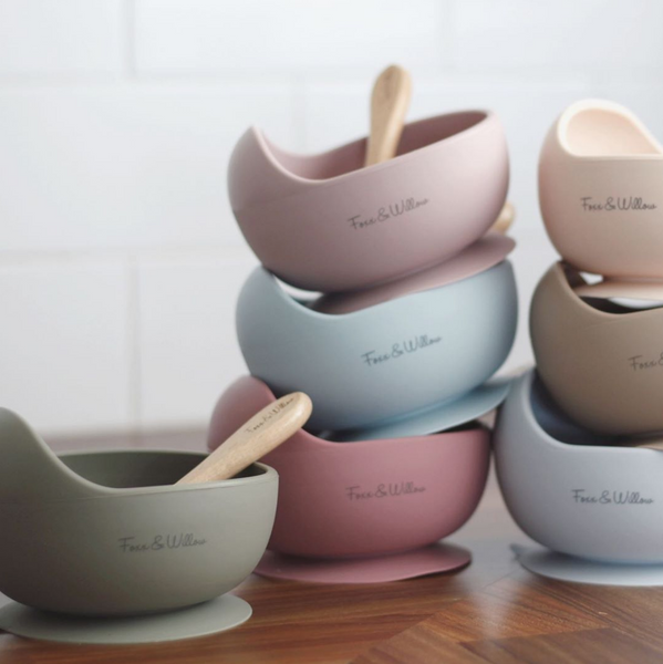 Suction Bowl and Wooden spoon Set