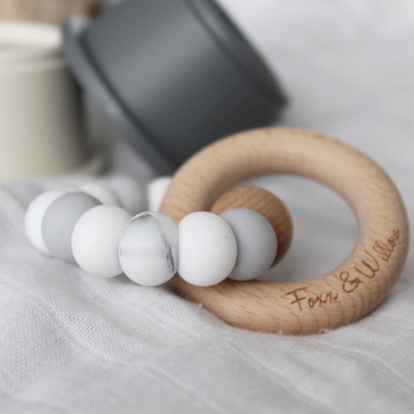 Infinity Teether - White grey and marble