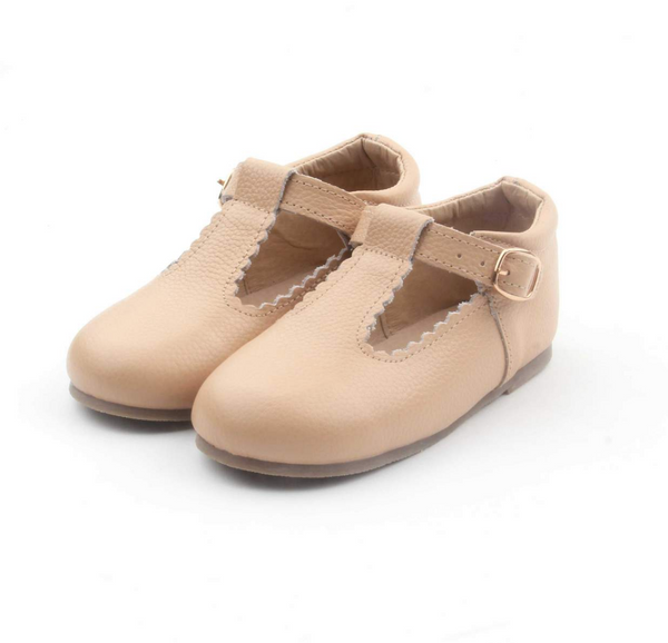 Leather T-Bar shoe in nude (hard sole)