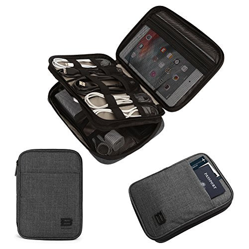 BAGSMART Double-Layer Travel Cable Organizer Electronics Accessories Cases (Black)