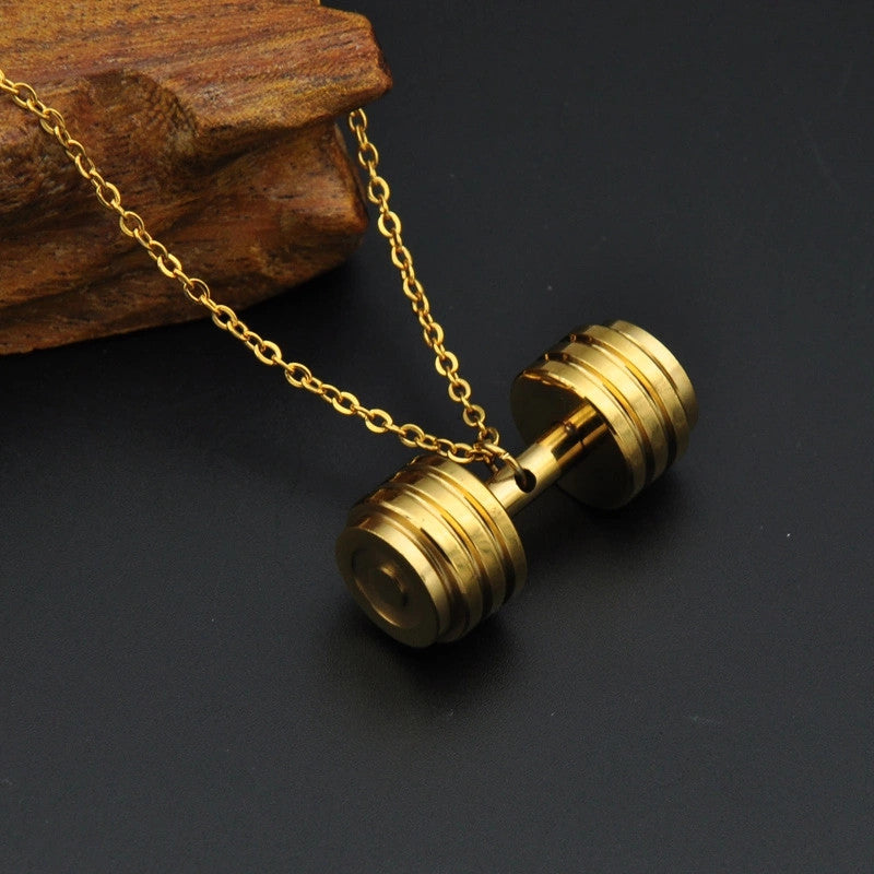 Gold Dumbbell Necklace