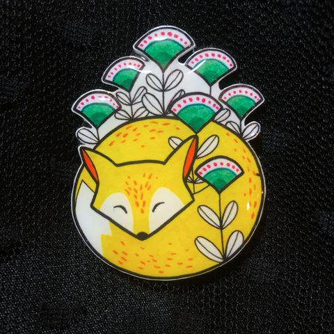 Yellow Fox Brooch
