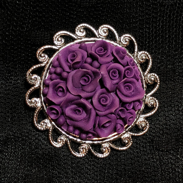 Purple Rose Bouquet Brooch